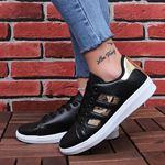 Siyah Bronz Şeritli Spor Ayakkabı AYK171