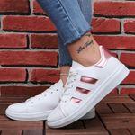 Beyaz Pudra Şeritli Spor Ayakkabı AYK173