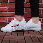 Beyaz Pembe Nakışlı Spor Ayakkabı AYK004