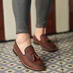 Corcik Kahve Deri Günlük Ayakkabı AYK191