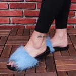Mavi Tüylü Terlik TRL174