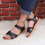 Siyah Çapraz Bantlı Sandalet SND162