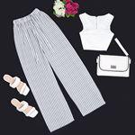 Çizgili Beyaz Pantolon PNT133