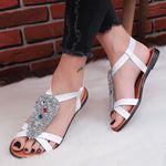 Taşlı Beyaz Sandalet SND166