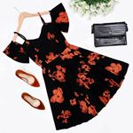 Siyah Desenli Elbise ELB267