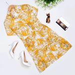 Sarı Desenli Elbise ELB294