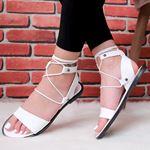 Bilekten Bağlamalı Beyaz Sandalet SND175