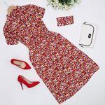 Kırmızı Maskeli Çiçekli Elbise ELB337