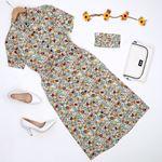 Mint Maskeli Çiçekli Elbise ELB338