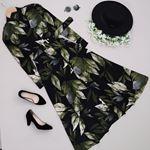 Siyah Yaprak Desen Uzun Elbise ELB360