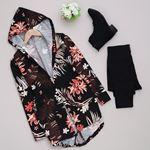 Siyah Çiçekli Ceket  CKT113