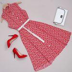 Kırmızı Çiçekli Elbise ELB376