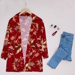 Bordo Desenli Kimono CKT121
