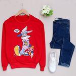 Kırmızı Rabbit Baskılı Sweat SWT194