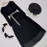 Siyah Hasır Kemerli Uzun Elbise ELB382