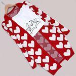 Kırmızı Kalp Desenli Hırka HRK158