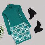Zümrüt Yeşili Triko Elbise ELB385