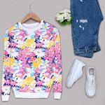 Beyaz Çiçekli Sweat SWT234