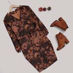 V Yaka Çiçekli Elbise ELB393