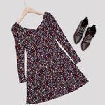 V Yaka Çiçek Desenli Elbise ELB402