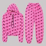 Fuşya Puantiyeli Polar Pijama Takımı PJM1085