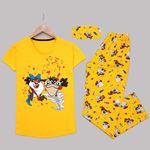 Sarı Baskılı Pijama Takımı PJM1159