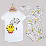 Beyaz Uyku Bantlı Pijama Takımı PJM1166