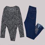 Desenli Çıtçıtlı Bluz BLZ060