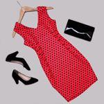 Kırmızı Puantiyeli Elbise ELB448