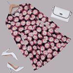 Kruvaze Yaka Çiçekli Elbise ELB451