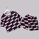 Siyah Baskılı Pijama Takımı PJM1279
