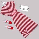 Kırmızı Çizgili Elbise ELB500