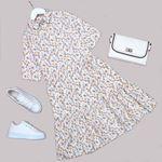 Beyaz Çiçekli Elbise ELB517
