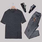 Siyah Çizgili Mom T-Shirt TSH178