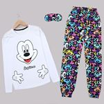 Beyaz Baskılı Pijama Takımı PJM1436