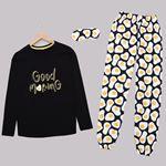 Siyah Baskılı Pijama Takımı PJM1438