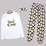 Beyaz Baskılı Pijama Takımı PJM1442